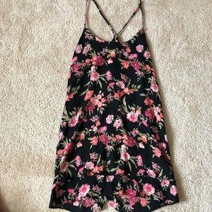 Flirty Flowy Floral Black Mini Dress
